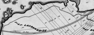 Carte fief Laframboise  aujourd'hui Terrasse-Vaudreuil,en haut se situe la baie de Vaudreuil et à gauche la rivière des Outaouais